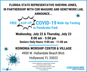 Shevrin Jones Announces Free Community COVID-19 Test Site in Pembroke Park