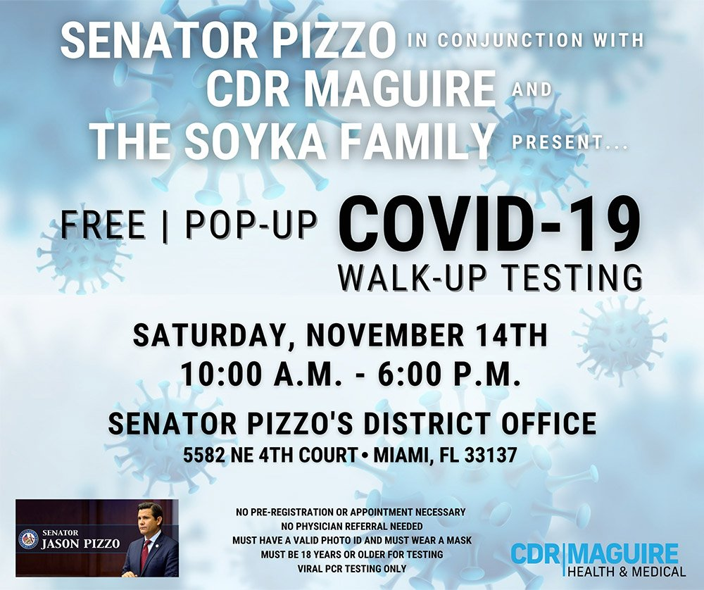 Senator Pizzo Pop Up Test Site Flyer
